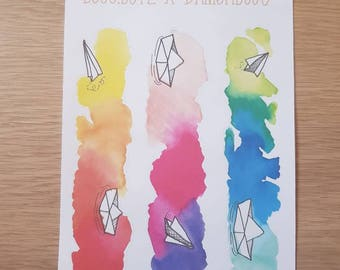 Watercolor banner stickers