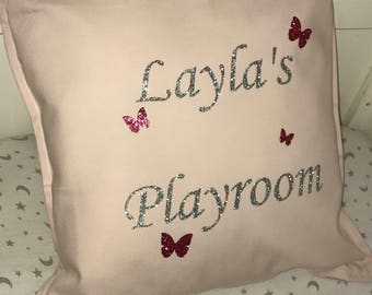 Personalised baby pink cushion