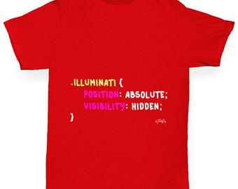Boys Funny T Shirt CSS Pun Illuminati Boy's T-Shirt