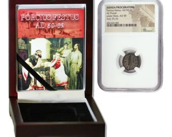 Judaea AE Porcius Festus (AD 59-62) Prutah NGC Wood Box(High grade) Historical Ancient Bronze Certified Coin