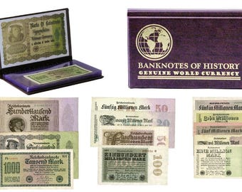 Hyperinflation in Weimar Germany A Collection of Twelve Notes certified German bills banknotes, collectibles
