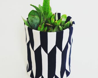 Fabric Plant Pot | Storage Basket | Home Decor | Black White Geometric Diamond Planter | Gift | Fabric Basket | Storage Container | Small