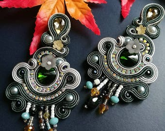 Elegant Emerald Crystal Soutache Earrings Statement Chandelier Dangle Ethnic Boho Chic Earrings