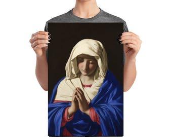 Religious print - Virgin Mary in Prayer by Sassoferrato - catholic art print - catholic gifts - religious art - Virgin Mary Poster - Ave Mar
