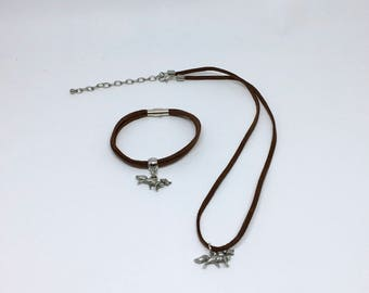 Set necklace and bracelet with Fox charm