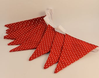 Red and White Polka Dot Cotton Fabric Bunting