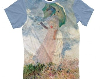 Claude Monet Woman with a Parasol - Madame Monet Artists Full Print T-Shirt All Sizes