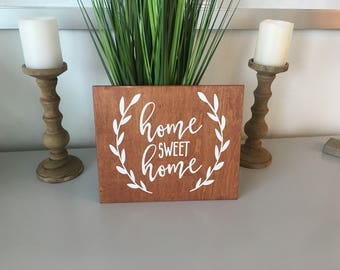 Home Sweet Home- Wood sign-Whitewillowdesignsco