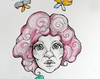 Original watercolors and black ink drawing/painting by Renata Lombard