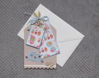 Greeting card of heart in the form of a label.