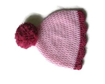 Crochet hat for children Baby Pink Hat Hat for girls Pom pom hat Spring hats Gift for girls Baby Hat Knit Hat Baby girl hat Merino Girls hat