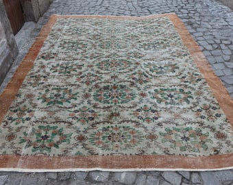 faded colored over size oushak rug handknotted wool rug Free Shipping turkish rug boho decor rug 7.5 x 10.5 ft. home decor floor rug MB202
