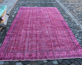 Pink Overdyed Rug Free Shipping 6.4 x 10.7 ft. eclectic Turkish rug, large area rug, handknotted rug, wool rug, anatolian hall rug, MB340