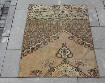 Free Shipping natural wool decorative turkish rug 2.6 x 3.1 ft. aztec rug small area rug boho decor door mat rug ethnic rug wool rug MB384