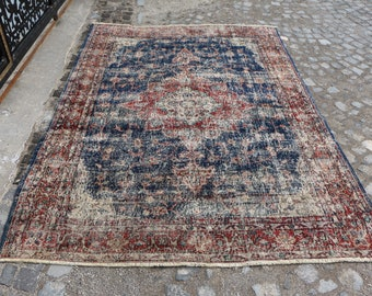 Navy blue turkish rug, 5.6 x 8 ft. Free Shipping oversize anatolian rug, area rug, handknotted floor rug, organic wool rug, hall rug, MB497