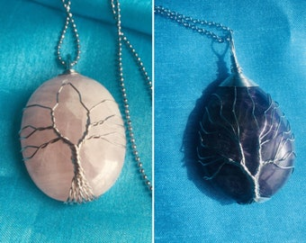Wrapped tree of life pendant - necklace
