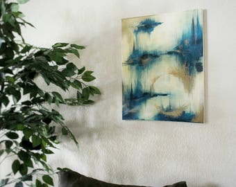 Original Blue and gold modern abstract painting