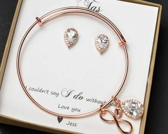 Personalized Bridesmaid Gift  Bridesmaid Jewelry Set  Bridesmaid Earrings and Necklace Bracelet  Mother of Bride Jewelry  Bridal Party Gift