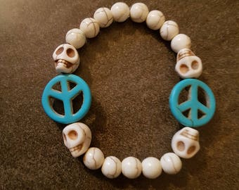 Skull Peace Sign Beaded Bracelet