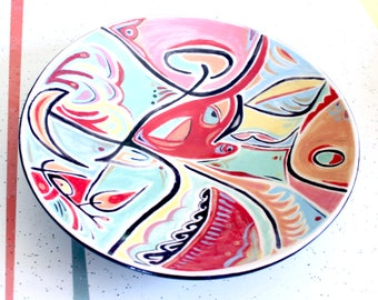 Medium sized ceramic handpainted bowl