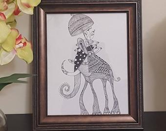 Temple men and an elephant - doodle Art