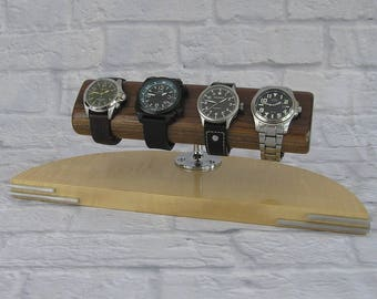 Watch Display, Watch stand, Watch Holder - Wenge/Curly Maple
