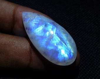 31.5 Cts 100% Natural Rainbow Moonstone Cabochon Pear Shape Smooth AAA Quality Loose Gemstone Blue Flash Fire Size 36x17x7 mm N#895-33