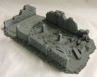 28mm Large Derelict Building - Modern Brick (Resin Scenery) *unpainted*