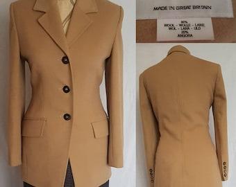 JAEGER VINTAGE size 10 12 Wool Angora Camel Blazer 70s 80s 90s
