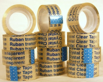 "12 Rolls Crystal Clear Tape Desktop Dispenser Refills Each Roll is 3/4"" x 600"""