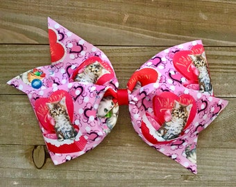 "HAPPY KITTEN VALENTINE 7"" Bow"