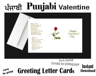 PUNJABI Funny Valentine, Instant Download, Printable, Valentine Greeting LETTER Card, Punjabi Funny card, Valentine Day, Punjabi Valentines