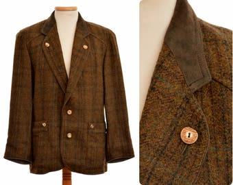 Austrian trachten blazer JACKET by ZEILER / mens size 48, fits Medium / Trachtenjanker / pure new wool / leather trim