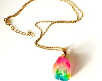 Necklace - Gold Chain with Natural Stone Pendant