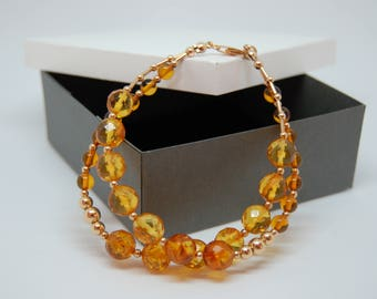 Natural Baltic Amber Designer Bracelet With Gold-Filled Jewellery Details