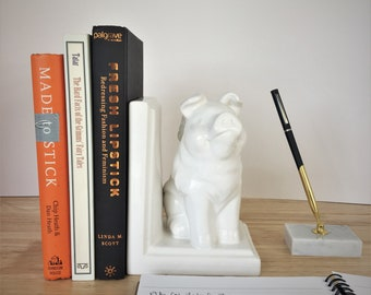 Vintage White Ceramic Bookend Flying Pig / White Porcelain Bookend Flying Pig / Animal Home Decor / Flying Pig Gift / Library Decor