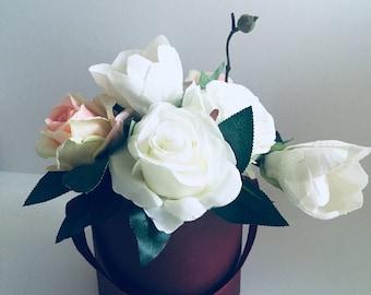White Pink Green Artificial Flower Arrangement In a small box bouquet