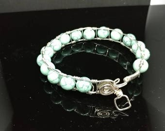 Sky blue natural stone sire bracelet