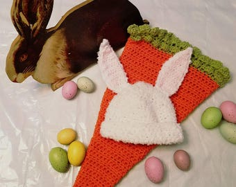 Bunny hat and carrot cozy!
