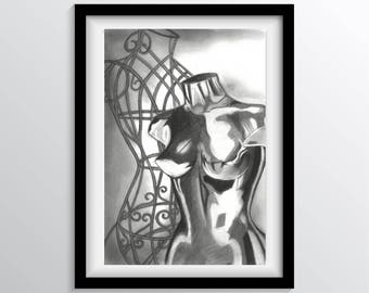 Fine Art Print Charcoal Drawing