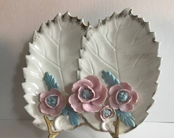 Large Vintage Mid Century Rose / Leaves Trinket Dish // Candy Dish