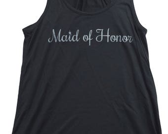 Maid of Honor | Flowy, Silky, Fashionable Racerback Women's Bridal Tank Top
