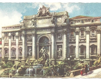 Vintage Postcard of Trevi Fountain - Rome Italy