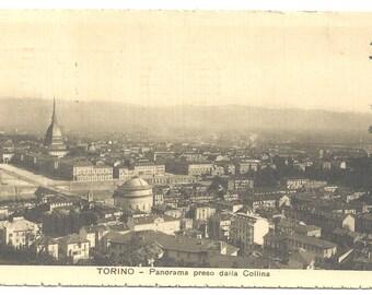 Vintage Postcard - Turin (Torino) Panorama taken of the Colina - Italy