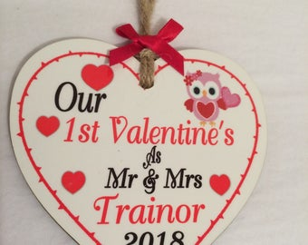Wooden Valentine heart personalised
