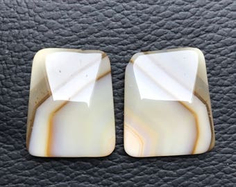1 Pair Natural Beautiful Onyx Banded Gemstone, Pendant Onyx Banded Stone, Onyx Banded Stone Weight 36.5. Carat and Size  22x18x5  MM Approx.