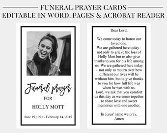 Funeral Prayer Cards | Printable Funeral Cards | Memorial Cards | Funeral  Religious Cards | Memorial  Memorial Card Template Word