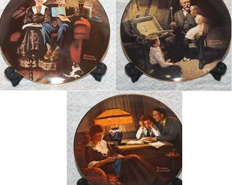 Lot of 3 Classic Rockwell Collector Plates Grandpa Treasure, Father's Help & Evenings Ease - Knowles China