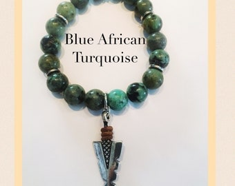 Blue African Turquoise 10mm Beaded Arrowhead Bracelet