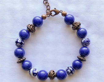 Royal blue porcelain beaded bracelet